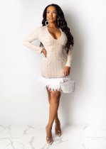 Sexy Sequin Pearls Feather Patchwork Mini Dress CYA-8222