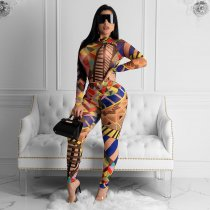 Geometric Print Long Sleeves Bodycon 2 Piece Suit SHA-6118