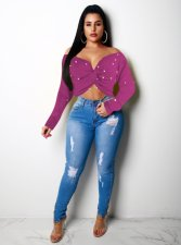 Purple Pearl V Neck Long Sleeve Crop Tops OY-5273