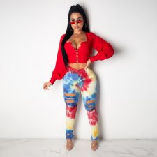 Plus Size Ripped Hole Jeans Tie Dye Print Denim Pencil Pants SH-3621
