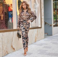 2019 Women Fashionable Printed Long Sleeve Pants Sets CY-1674