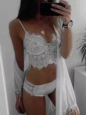 White Lace Strappy Vest Lingerie 2 Piece Sets YQ-238