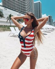 Sexy Stripe Print Sleeveless Bikini One Piece Swimsuit ML-7222