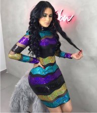 Sexy Transparent Colorful Sequin Package Hips Club Dress BS-1020