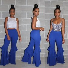 Fashion Solid Ruffles Long Flare Pants LA-3111