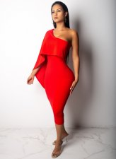 Red One Shoulder Bodycon Midi Dress CHY-1076
