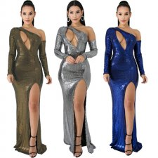 Glitter Off Shoulder Cut Out High Split Long Evening Dress CYA-8127