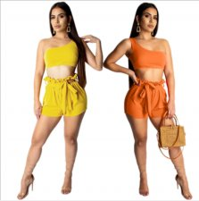 One Shoulder Crop Top And Shorts Set FNN-8195