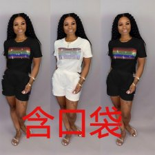 Hot Drilling Short Sleeve Casual Two Piece Shorts Set NY-8818