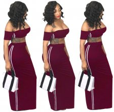 Wine Red 2 Pcs Side Striped Maxi Dress YS-8266