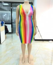 Plus Size 5XL Colorful Stripes V Neck Sleeveless Dress YIF-1020