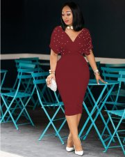 Wine Red Beading V Neck Bodycon Midi Dress MYP-8825