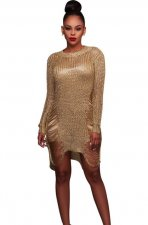 Gold Hollow-Out Sweater Dress ZS-Z002