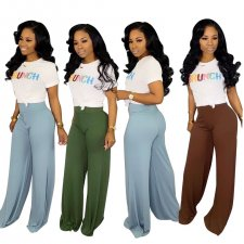 Casual  Solid Wide Leg Long Pants JUI-9210