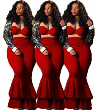 Red Strapless Crop Top Ruffles Flare Pants Set DAI-8053
