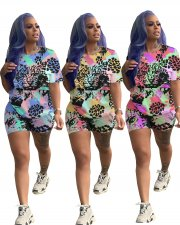 Plus Size Print Short Sleeve Two Piece Shorts Set LQ-5056