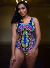 Totem Printed Backless Lace-up One Piece Swimwear LS-0209