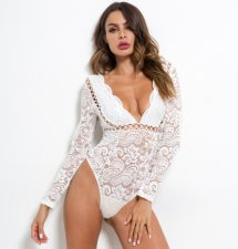 Sexy Lace Deep V Neck Hollow Out White Bodysuit SDE-4325