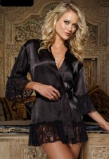 Ladies Attractive Black Lace Side Satins Pajamas