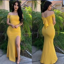 Solid Off Shoulder High Split Mermaid Long Evening Dress BS-1080
