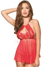 Red Mesh Backless See-thru Babydoll Lingerie FQQ-1086