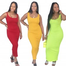 Solid Sleeveless Bodycon Long Maxi Vest Dresses AWN-5043