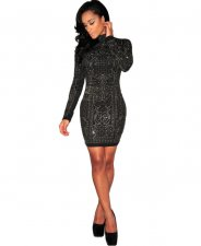 Rhinestone Black Bodycon Dress LX-7866