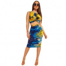 Sexy Printed Sleeveless Bodycon Two Piece Midi Skirt Set GS-1012