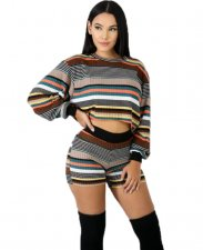 Striped Tops And Skinny Shorts Set LA-3047