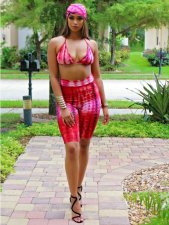 Red Bikini Tops&Knee Length Pant Sets YM-9032