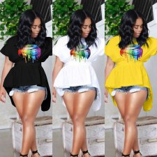 Plus Size Lips Print Short Sleeve Backless High Low Tops QY-5121