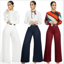 Solid Color Pleated Wide Leg Long Pants FNN-8277