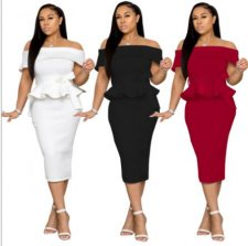 Elegant Ruffles Off Shoulder Split Midi Peplum Dress NK-8402