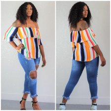 Sexy Striped Ruffles Slash Neck Short Sleeve Tops AWN-5010