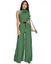 Stripe Wide Leg Pants Jumpsuit Green ZS-049