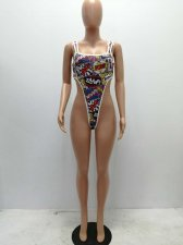Sexy Letter Print One Piece Bodysuit YSF-285