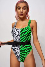 Leopard Print Patchwork Sexy One Piece Swimsuit MJ-369