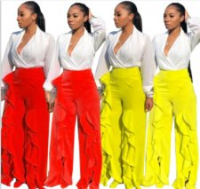 Solid Ruffles Split High Waist Wide Leg Pants WSM-5095