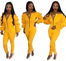 Yellow Slash Neck Zipper Skinny Jumpsuit OD-8198