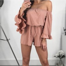 Beading Slash Neck Top Shorts Set MYP-8812