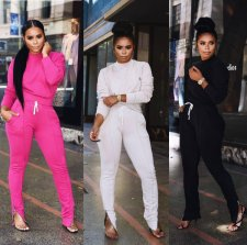 Solid Color Casual Tracksuit Two Piece Set ARM-8028