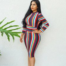 Striped Long Sleeve Hollow Bodycon Dress ORY-5043
