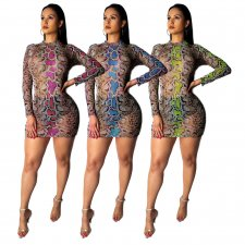 Snake Mesh Print Club Dress TE-3678