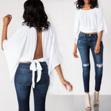 White Sexy Batwing Sleeve Backless Bow Tie Tops OD-8287