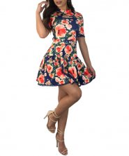 Floral Printing Backless Skater Dress LX-5051