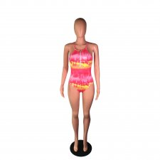Tie Dye Print Straps Front Zipper One Piece Swimsuit BS-1103