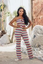 Wave Printed Sexy Strapless V Neck Tube Jumpsuits CXM-8037