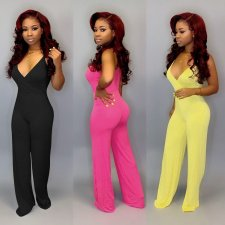 Solid Spaghetti Strap V Neck One Piece Jumpsuits PIN-8406