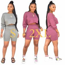 Solid Color Batwing Sleeve Tops Shorts Two Piece Outfits LSD-8603