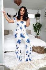 Floral Print Slash Neck Off Shoulder Flare Jumpsuits CXM-8038